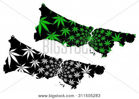 Istanbul (provinces Of The Republic Of Turkey) Map Is Designed Cannabis Leaf Green And Black, Istanb