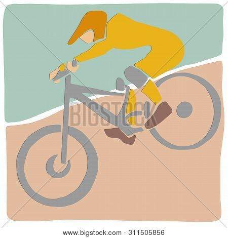 Single Male Bicyclist On Bicycle. Vector Cycling Colorful Illustration. Applique Or Paper Cut Style.