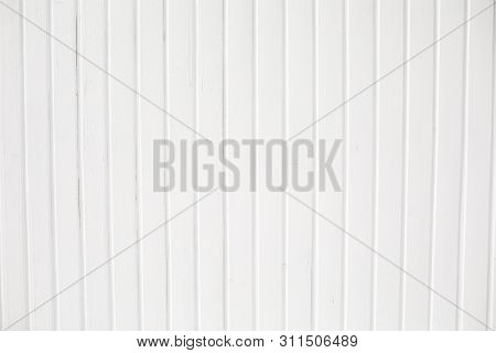 White Wood Texture Background, Top View Wooden Plank Panel. White Wooden Fence On A Blue Sky Backgro