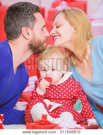 Family celebrate their love. Romantic couple in love and baby girl. Valentines day concept. Together on valentines day. Lovely family celebrating valentines day. Happy be parents. Perfect celebration poster