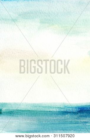 Handmade Illustration Light Sky Blue And Yellow Watercolor Background. Sea, Sky.aquarelle Paint Pape