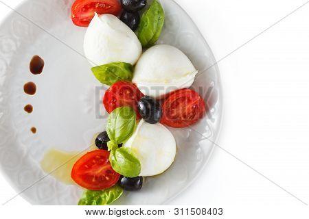 Salad With Italian Mozzarella. Caprese.