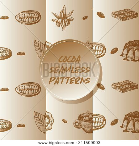 Cocoa Beans Seamless Pattern Vector Illustration. Cocoa Leaves, Browny Cake And Chocolate Sketch. En