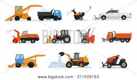Snow Removal Vector Winter Vehicle Excavator Bulldozer Cleaning Removing Snow Illustration Snowy Set