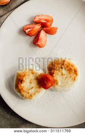 Tasty Breakfast Cheesecakes With Coffee. Cheese Pancakes