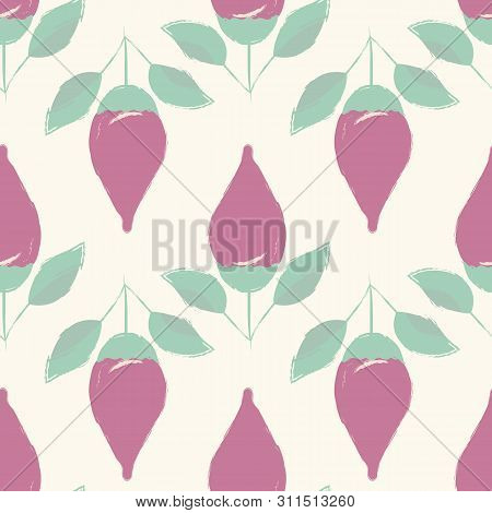 Beautiful Hand Drawn Purple Flower Buds And Green Leaves In Geometric Design. Seamless Vector Patter