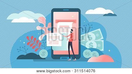 Digital Bill Vector Illustration. Flat Tiny Phone Wallet Persons Concept. Modern Electronic Financia