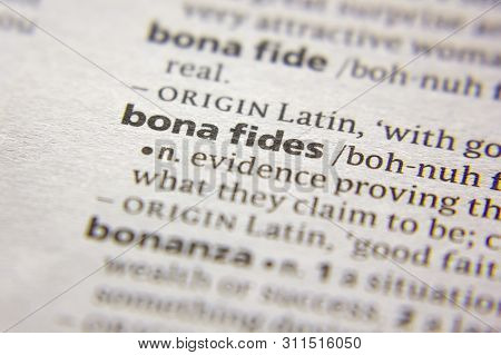 Word Or Phrase Bona Fides In A Dictionary