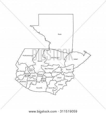 Vector Isolated Illustration Of Simplified Administrative Map Of Guatemala. Borders And Names Of The