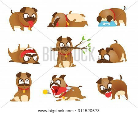 Puppy Activity Set. Cartoon Dog Set. Dogs Tricks Icons And Action Training Digging Dirt Eating Pet F