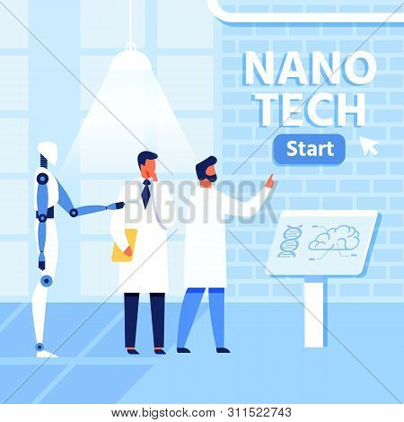 Flat Nano Tech Research Lab, Scientists And Robot. Collaboration People And Ai In Nanomedicine, Nano