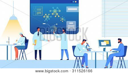 Doctors And Researchers Team Works At Research Center Or Laboratory. Female And Male Medical Experts