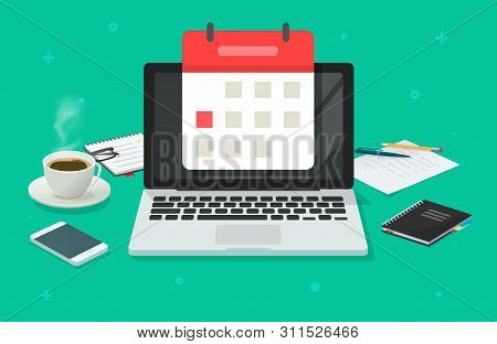 Event Planning On Calendar Date On Laptop Computer Vector Illustration, Flat Cartoon Working Desk Ta
