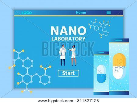 Landing Page Design For Nano Laboratory Online. Internet Nanotechnological Resource. Nanomedicine An
