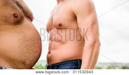 Turn Beer Belly Into Six Packs Abs In Easy Steps. Compare Fat And Six Packs Attractive Torso. Male U