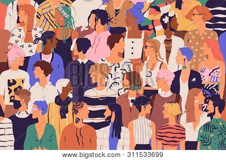 Crowd Of Young And Elderly Men And Women In Trendy Hipster Clothes. Diverse Group Of Stylish People