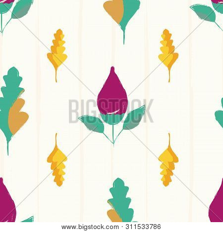Modern Hand Drawn Purple Flower Buds And Multicolor Leaves. Seamless Vector Pattern On Subtle Grunge