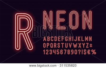 Neon Rounded Alphabet, Red Color. Neon Outlined Font, Set Of Monochrome Glowing Letters, Numbers, Cu