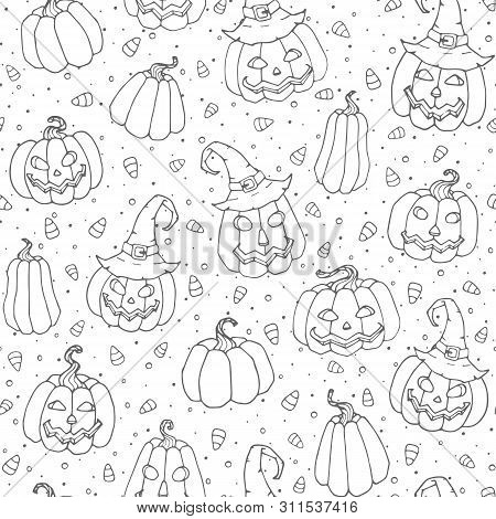Vector Halloween Seamless Pattern With Candy Corns, Smiling Pumpkins And Witch Hats Black Outline. H