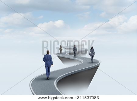 Way Of Success And Road To Worker Opportunity As A Group Of People Walking On A Pathway To Opportuni