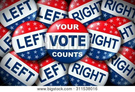 Your Vote Counts Election Badge As A United States Democratic Right For Voting Concept Between The R