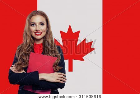 Canada Concept. Young Woman Student With The Canada Flag. Live, Work, Education And Internship In Ca