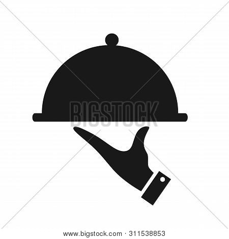 Serving Food Icon Isolated On White Background. Waiter Serving. Sign Hand Of Waiter With Serving Tra