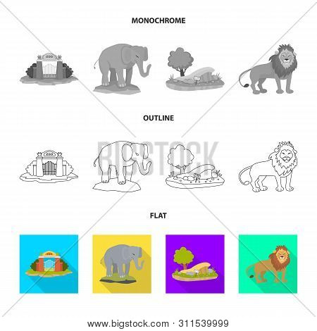 Isolated Object Of Nature And Fun Logo. Collection Of Nature And Entertainment Vector Icon For Stock