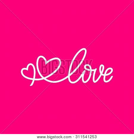 Love Calligraphy Phrase. Love Lettering Vector On Pink Background, Vector Hand Drawn Illustration Wi