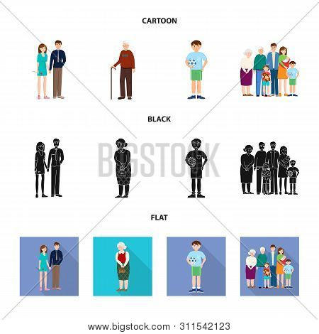 Vector Illustration Of Character And Avatar Logo. Set Of Character And Portrait Vector Icon For Stoc