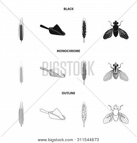 Vector Design Of Agriculture And Farming Sign. Collection Of Agriculture And Plant Stock Vector Illu