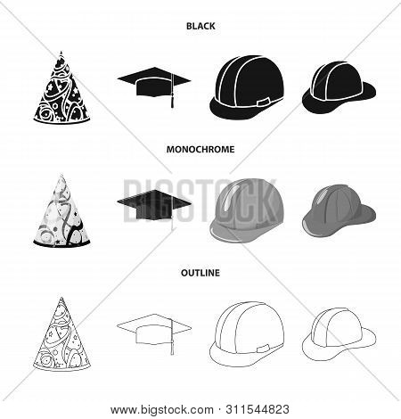 Vector Illustration Of Clothing And Cap Symbol. Collection Of Clothing And Beret Vector Icon For Sto