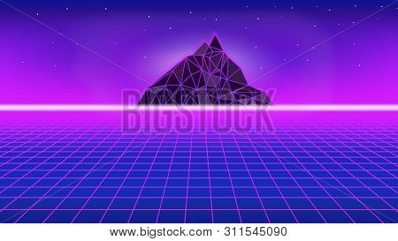80s Style Poster With Polygon Mountain. Perspective Grid With Neon Horizon Line Background. Synthwav