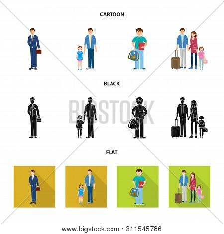 Isolated Object Of Character And Avatar Logo. Set Of Character And Portrait Vector Icon For Stock.