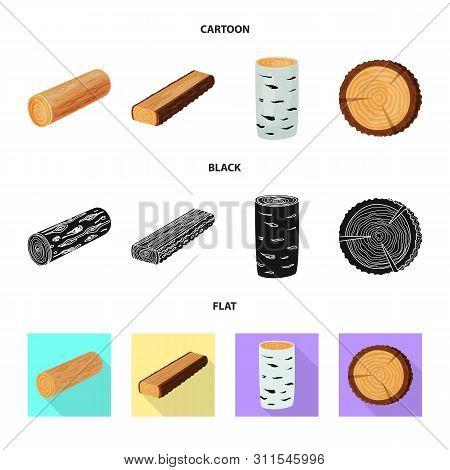 Vector Illustration Of Tree And Raw Symbol. Collection Of Tree And Construction Vector Icon For Stoc