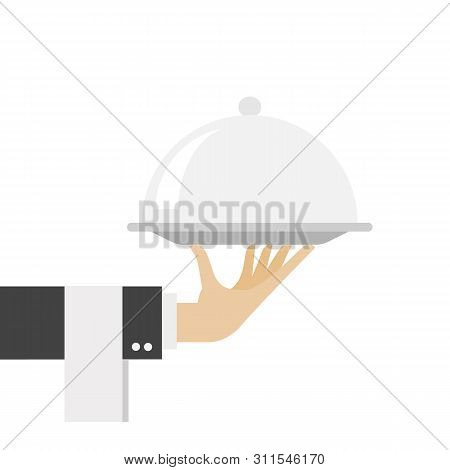 Serving Food Isolated On White Background. Waiter Serving. Sign Hand Of Waiter With Serving Tray In