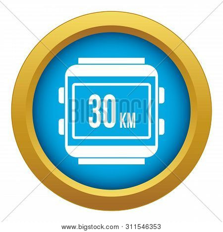 Speedometer Bike Icon Blue Vector Isolated On White Background For Any Design