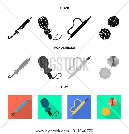 Isolated Object Of Protection And Closed Icon. Collection Of Protection And Rainy Stock Symbol For W