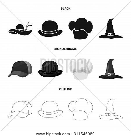 Vector Illustration Of Clothing And Cap Sign. Set Of Clothing And Beret Stock Vector Illustration.