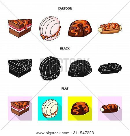 Vector Illustration Of Confectionery And Culinary Symbol. Collection Of Confectionery And Product Ve