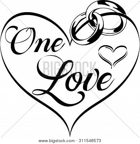 One Love Heart Wedding Clip Art With Wedding Rings