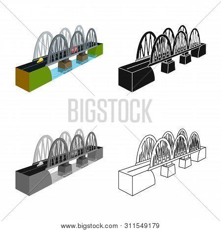 Isolated Object Of Bridge And Railway Symbol. Collection Of Bridge And Coast Stock Vector Illustrati