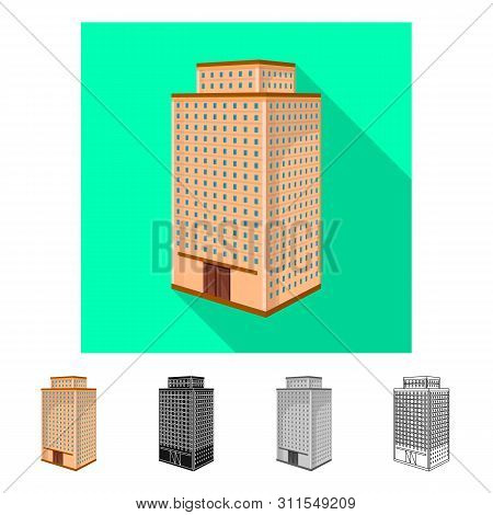 Isolated Object Of Office And House Symbol. Collection Of Office And Skyscraper Vector Icon For Stoc