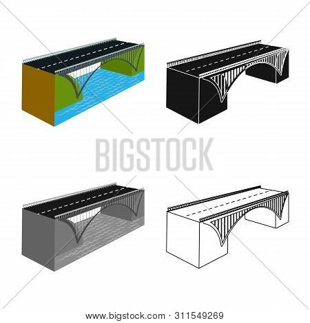 Vector Design Of Bridge And Mounted Icon. Collection Of Bridge And Coast Stock Symbol For Web.