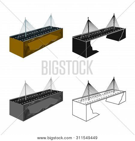 Vector Design Of Bridge And Mounted Icon. Set Of Bridge And Long Vector Icon For Stock.