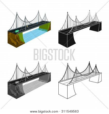 Vector Design Of Bridge And Rock Logo. Collection Of Bridge And Brick Stock Symbol For Web.