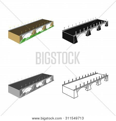 Isolated Object Of Bridge And Building Icon. Set Of Bridge And Autobahn Vector Icon For Stock.
