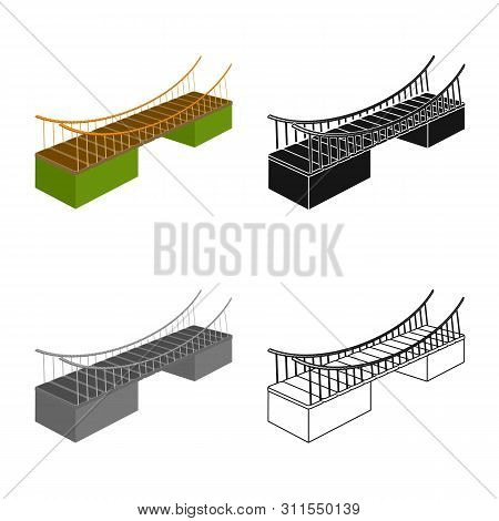 Isolated Object Of Bridge And Mounted Sign. Set Of Bridge And Bank Stock Vector Illustration.