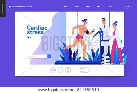 Medical Tests Blue Template - Cardiac Stress Test -modern Flat Vector Concept Digital Illustration,