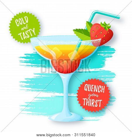 Banner With Tropical Cocktail. Glass Of Refreshing Summer Drink With Strawberry And Mint On The Back